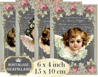 Victorian Angels Chalkboard Shabby Chic Cherubs printable 6 x 4 inch Instant Download digital collage sheet D180 postcardsize
