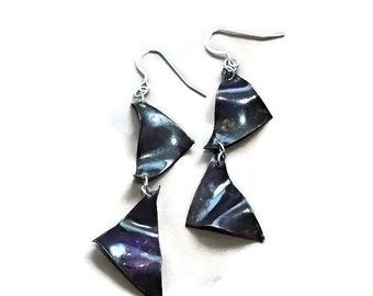 purple triangle, copper earrings