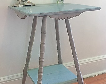 Custom Antique Chalk Painted Side Accent Table