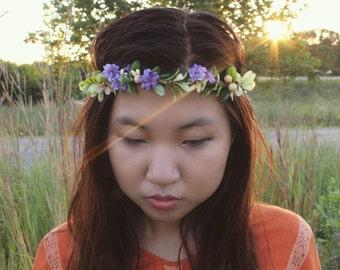 Purple Flower Crown-Bridal-Wedding-Boho-Headband-Girls