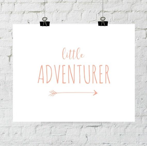 Adventure Print, Nursery Decor, Little Adventurer, Coral Pink Peach Nursery Wall Art, Playroom Decor, Instant Download, ADOPTION FUNDRAISER