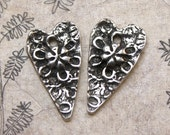Heart Charms, Hearts, Handcrafted, Handmade, Pewter, Jewelry Making Supplies No. 323CP