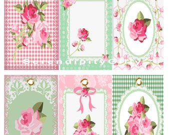 6 Cottage Style Tags. ( on A4 size collage sheet.) DOWNLOAD