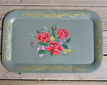 Vintage Metal Serving Trays with Flowers (4 Available)