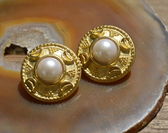 Gold Moon and Faux Pearl Clip On Earrings