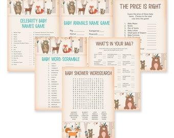 Baby Shower Game Bundle - 6 Games bundle - Woodland Baby Shower - Woodland Shower Games - Celebrity Baby Names etc - Tribal Woodland