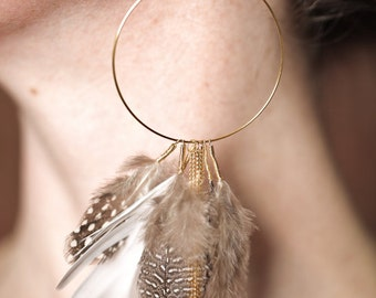 Chain and Feathered Earrings