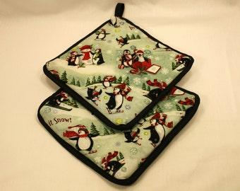 """Penquin Pot Holders/Hot Pads - """"Penquins in the Snow"""" - Designer - Thick - Kitchen/Housewares Item - Gifts under 15"""
