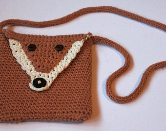 Cute crocheted fox shoulder bag, fully lined, perfect gift for ages 2 to 100!
