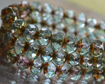 10 Aqua 8x6mm- Czech Picasso Faceted Rondelle Beads- Mirage (681-10)