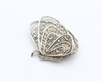 Vintage Layered Filigree Butterfly Brooch in 800 Silver. [8333]
