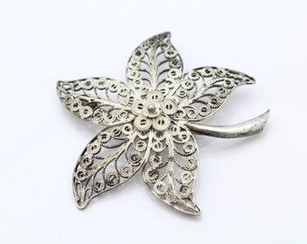 Vintage Multi-Layer Leaf Filigree Brooch in 800 Silver. [8524]