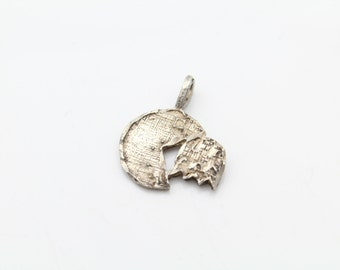 Small Vintage Sterling Silver Mixed Texture Pac Man Charm or Pendant. [8937]