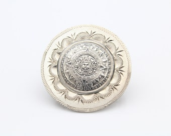 Well-Made Aztec Calendar Medallion Pendant-Brooch in Sterling Silver. [9158]