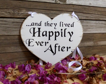 and they lived happily ever after sign, and they lived happily sign,distressed wedding sign, heart shaped wedding sign, flower girl sign.