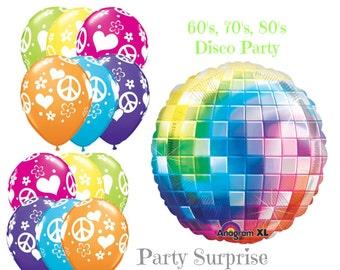 Disco Party Balloons Peace Signs Balloons 60s 70s 80s Disco Dance Rock Party Decoration Balloons Retro Party