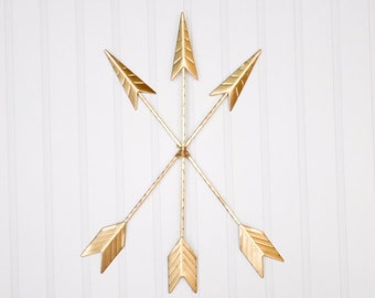 Gold Arrow Wall Hanging/Wall Decor/Bohemian Decor/Arrow/Tribal/Boho/Arrow Art/Native American/Trendy/Western/Girls Room/Gallery