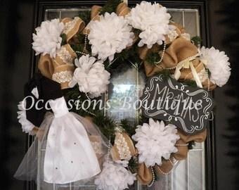 Made to Order- Burlap Wedding Decoration- Bridal Shower Decoration- Wedding Wreath- Burlap Wreath