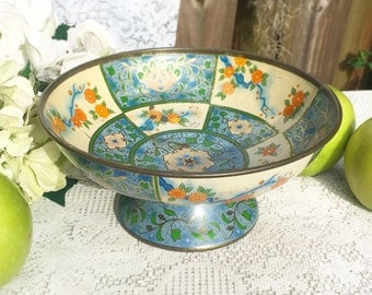 Mid Century Canton Compote, 1954 Baret Ware, Blue Floral, Asian Oriental tin pedestal, candy, jewelry, trinkets, decorative centerpiece
