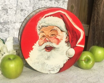 Mid Century decorative Santa Claus Tin Box, Mrs. Stevens, Round canister. Advertising, Litho Biscuit / tea tin kitchen, Christmas storage