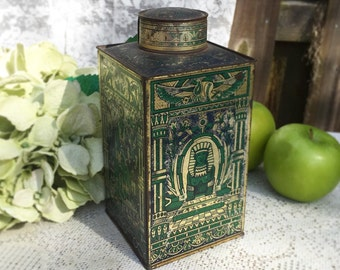 Stunning 1890's Antique Art Deco Cocoa Advertising Tin Can, J Fry, Egyptian Revival, Pharaoh, King Tut, decor, Gold, blue green silver