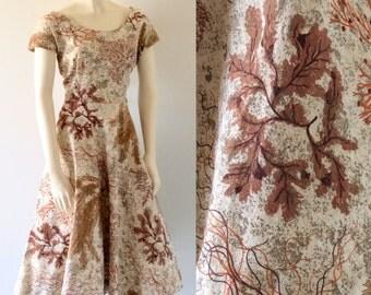 CORAL NOVELTY Print Vintage 50s Bark Cloth Short Sleeve Full Skirt Dress with Sequins
