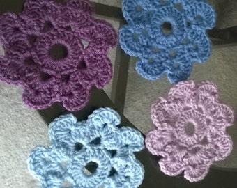 Purple and blue doily or coasters set