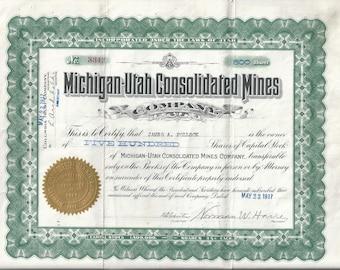 Rare 1917 Michigan-Utah Consolidated Mines Stock Certificate