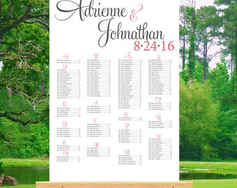 Wedding Seating Chart Printable-Seating Chart Poster-Wedding Seating Sign-Alphabetical or By Table Number