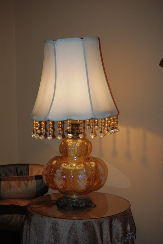 Vintage Victorian Amber Large Glass Table Lamp W Frosted