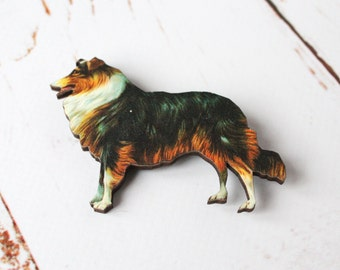 Collie Brooch/ Lassie dog Pin Brooch, Cute Dog Wooden pin badge/Rough Coated Collie