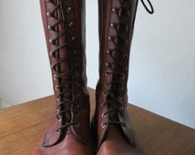 Mens Rare Gum Sole Lace Up Work Boots, Mens Steam Punk Boots, Men's 70s Hippie Lace Up Boots, Fryes, Dr Martin Style 60s Mens Combat Boots