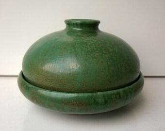 Bowl and Vase, Green Crystalline Glaze, Ruth Koppenhöfer Keramik, West German Studio Pottery, 1960s
