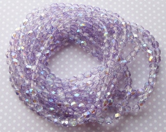 Czech Firepolished Faceted Round Glass Beads, Pack of 40, Alexandrite Ab purple Light Transparent