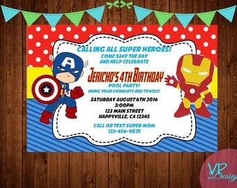 Iron Man and Captain America, Avengers, Birthday Invitation, Digital File, DIY Printing PLUS FREE Thank You Card