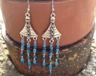 Boho Lapis Lazuli And Turquoise Earrings