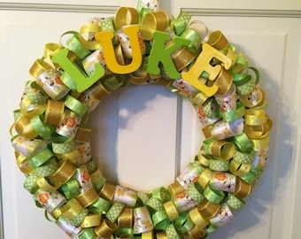 Baby wreath, nursery wreath, safari wreath