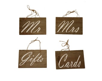 Classic Set Rustic Wedding Wooden Cards Gifts Mr Mrs Signs Upcycled Barn Wood Wedding Sign, Country Wedding, Cottage, Farm Decor, Reclaimed