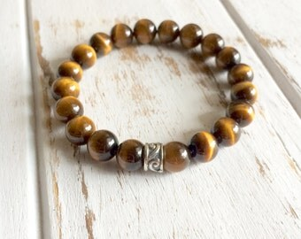 Genuine Tiger Eye Bracelet w/ Sterling Silver Charm