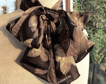 Jones New York Silk Scarf With Leaves Black And Browns NWT