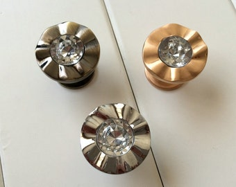 Rose gold home hobby woodworking carpentry etsy studio for Crystal bureau knobs