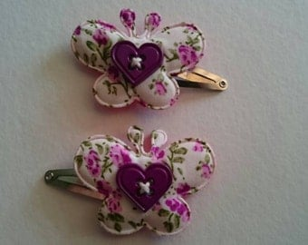 Butterfly/Button Hair Clips 2 pack