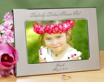 Personalized Flower Girl Picture Frame, Silver Flower Girl Picture Frame