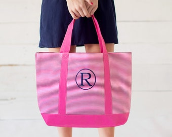 Monogrammed Tote Bag, Stripped Tote Bag, Carry Tote