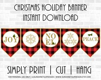 Printable Christmas Banner Buffalo Plaid Check by SUNSHINETULIPDESIGN