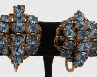 Vtg Screwback Earrings Czech Blue Rhinestone Pillow Shape Czechoslovakia