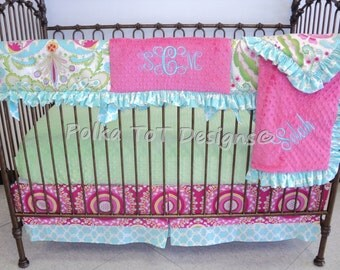 Kumari Garden Bumperless Crib Set Rail Guard w/ruffle. Selah