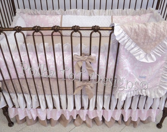 Baby Bedding: Pink & Taupe Ruffled Crib Set for Girl- SARAH