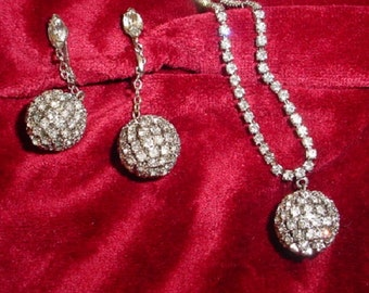 Clear Rhinestone Ball Necklace and Earrings on Rhinestone Chain