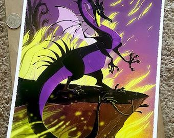 "Maleficent as Dragon illustration Purple and Black fantasy artwork Fine Art Print 9x12"""